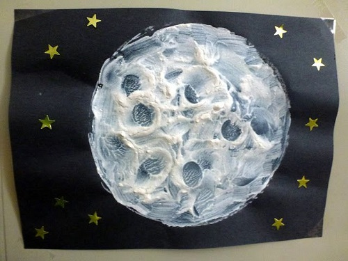 Moon Drawing In The Background Of Night Sky And Stars.
