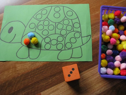 Green Colored Tortoise Printable And Number Of Tiny Blocks Placed On The Table - Numbaering Activity.