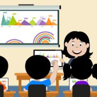 Vector Image That Represents The Staff Instructs The Students Through Projector Screen.