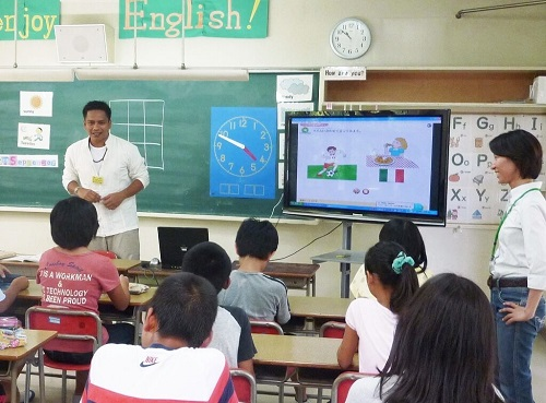 Kindergarden Staffs Instructs Lessons Through Projector Screen.