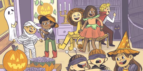 Vector Image Of Halloween Party In Kindergarden.