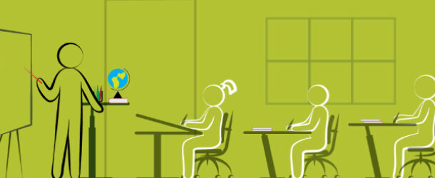 A Picture Representing The Sitting Pose Of Kids Near The Table In The Classroom Which Denoting Classroom Ergonomics.