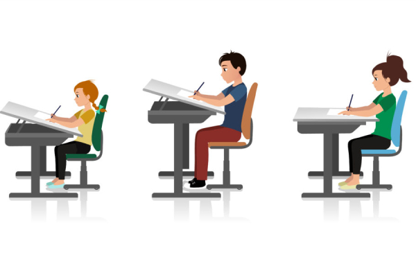 An Image Representing The Seating Arrangements of Children Near The Table In The Classroom