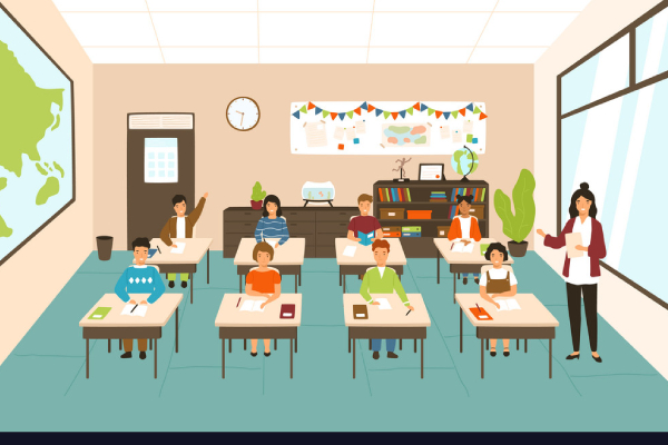 A Vector Image Representing The Children Sitting At Desks In Modern Classroom.